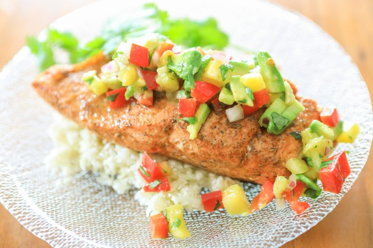Summertime Jerk Salmon with Fresh Pineapple Salsa