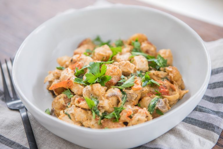 Creamy Chicken with Cauliflower Gnocchi