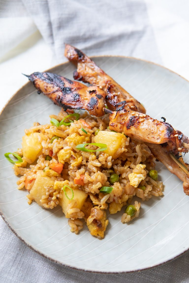 Pineapple Fried Rice and Teriyaki Chicken Skewers